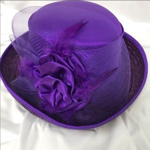 Vintage Purple Church Hat Bow and Feathers
